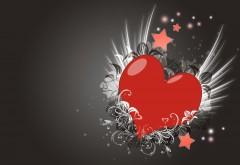 серый фон, сердце, любовь, бесплатно, обои