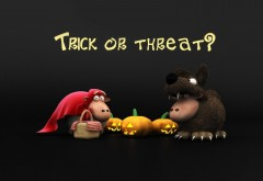 halloween shaun sheep trick threat wolf pumpkins black funny holiday