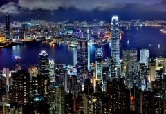 Ночные огни, Гонконг, архитектура, HD обои, город
