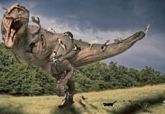 Кошки на динозавре