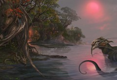озера, фэнтези, драконы, леса, закат