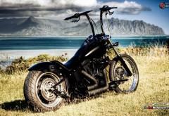мотоцикл, чепер, горы, море