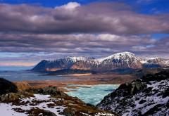 Природа, пейзажи, горы, небо, облака, берег, снег, Зимний…