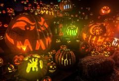 тыква, установить, фары, сено, Хэллоуин, праздник