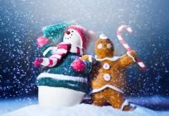 Снеговик и пряничный человечек празднуют Новый год
