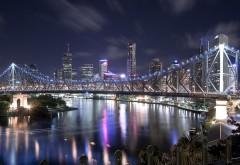 Мост через реку, Дом, Ночные огни, картинки, обои, фоны