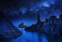 Синий, настроение, ночь, океан, отражение, река, море, небо, звезды