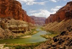 Каньоны, скалы, река, пустыня, жара, обои, картинки
