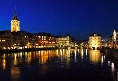 Швейцария Цюрих реки ночные города отражения здания б�…