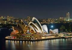 Сиднейский оперный театр ночью обои на стол скачать